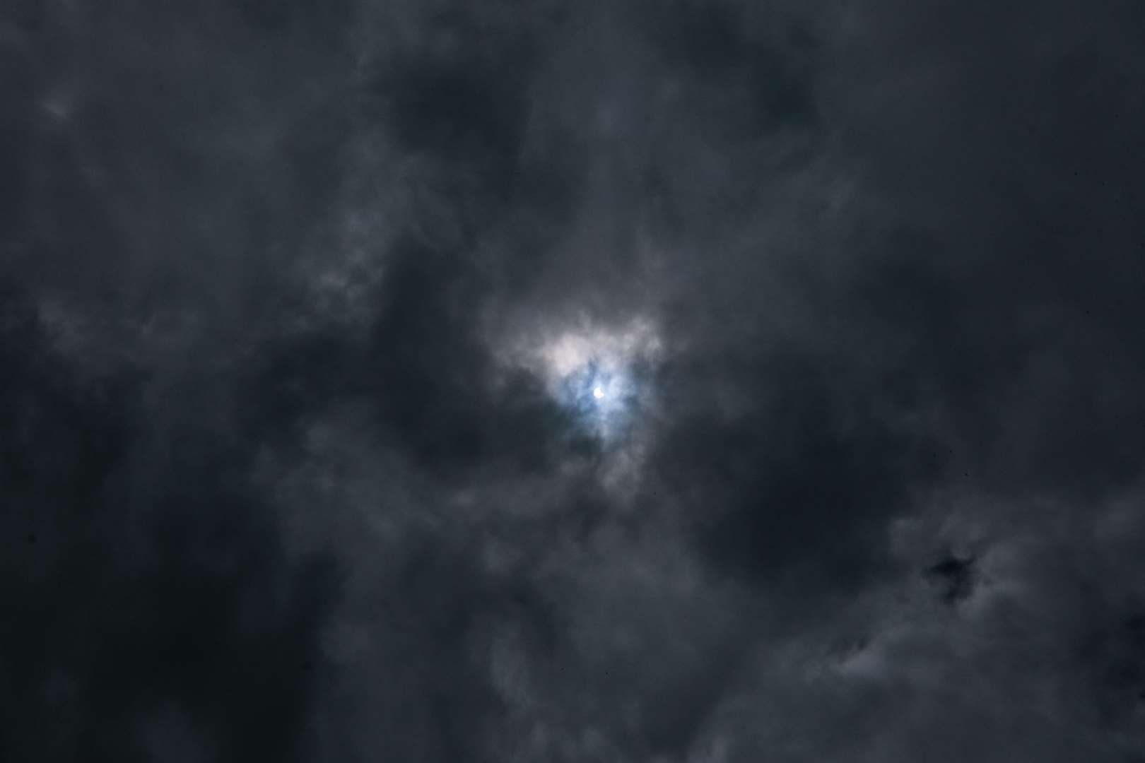 Cloud cover did its best to mask the partial solar eclipse Photo: Phil Cannings