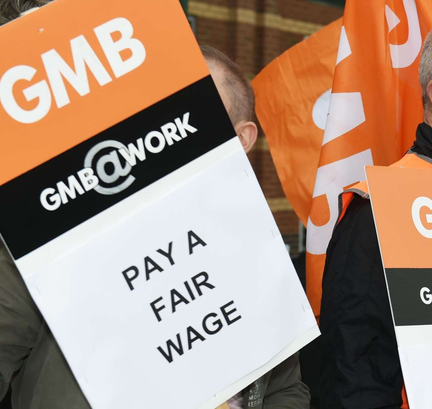 GMB workers on strike at Newbury Retail Park in 2015.